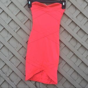 Firm Price* Party Neon Salmon Pink Bodycon Dress